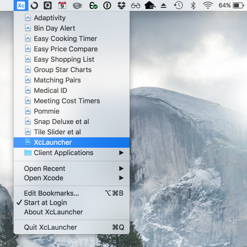 XcLauncher - instant access to your favorite Xcode projects